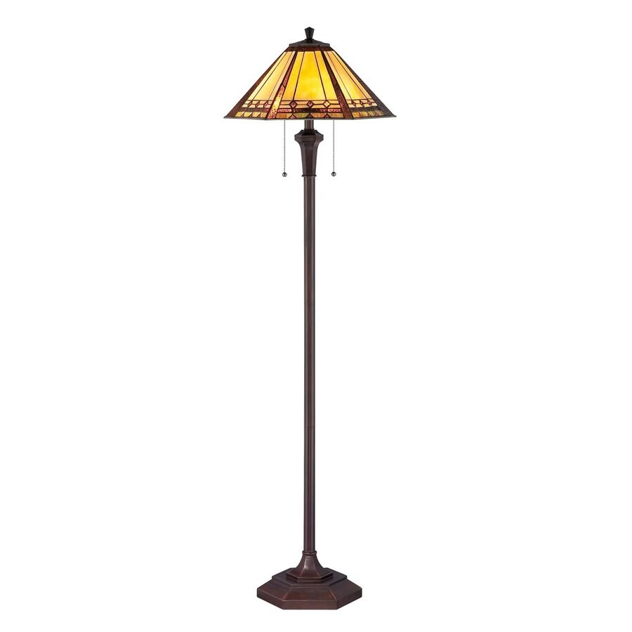 Quoizel Arden 59.5-in Bronze Patina Floor Lamp with Glass Shade