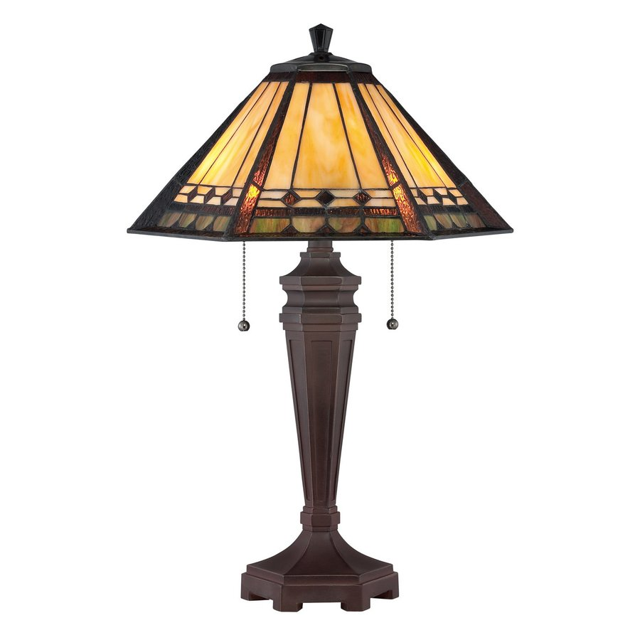 Quoizel Arden 23.5-in Bronze Patina Tiffany-Style Indoor Table Lamp with Glass Shade