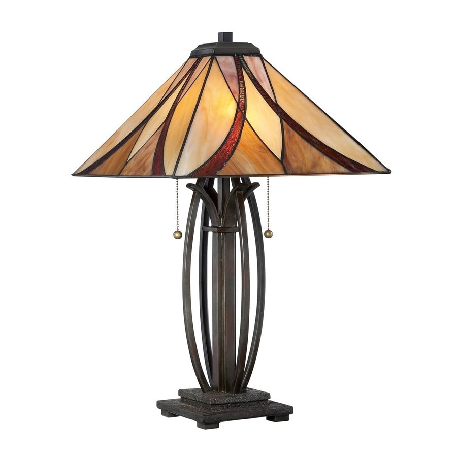 Quoizel Asheville 25-in Valiant Bronze Tiffany-Style Indoor Table Lamp with Glass Shade