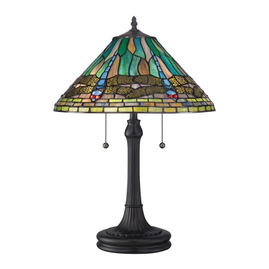 Quoizel King 24-in Vintage Bronze Table Lamp with Glass Shade
