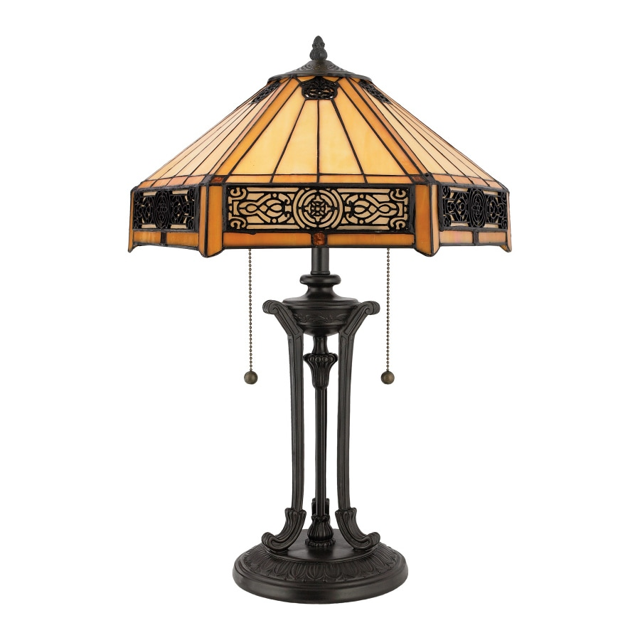 Quoizel Indus 23 In Vintage Bronze Table Lamp With Glass Shade