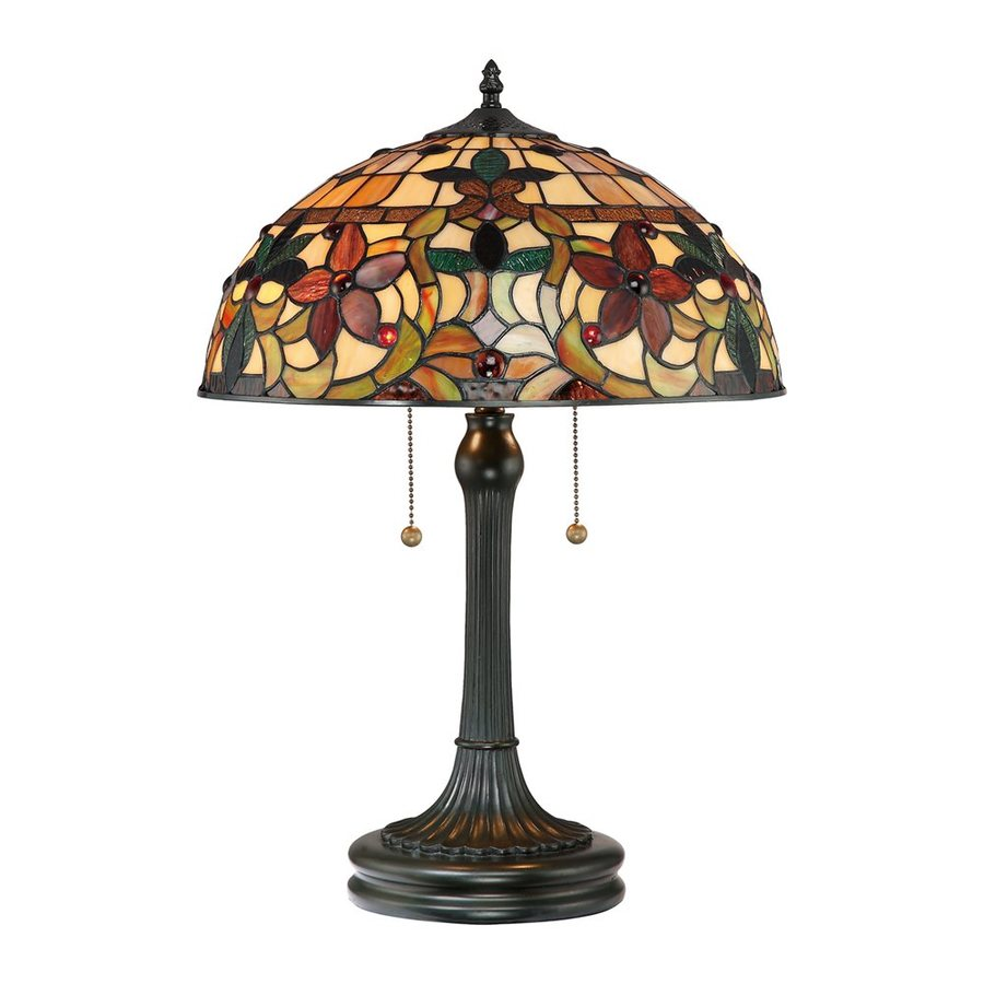 Shop Quoizel Kami 23-in Vintage Bronze Table Lamp with Glass Shade ...