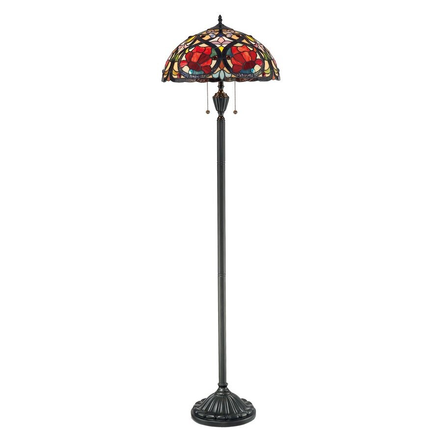 Quoizel Larissa 62-in Vintage Bronze Tiffany-Style Indoor Floor Lamp with Tiffany-Style Shade
