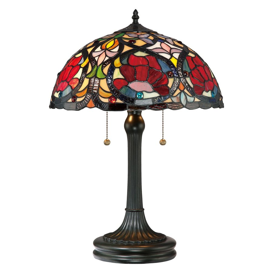 Quoizel Larissa 23-in Vintage Bronze Tiffany-Style Indoor Table Lamp with Glass Shade