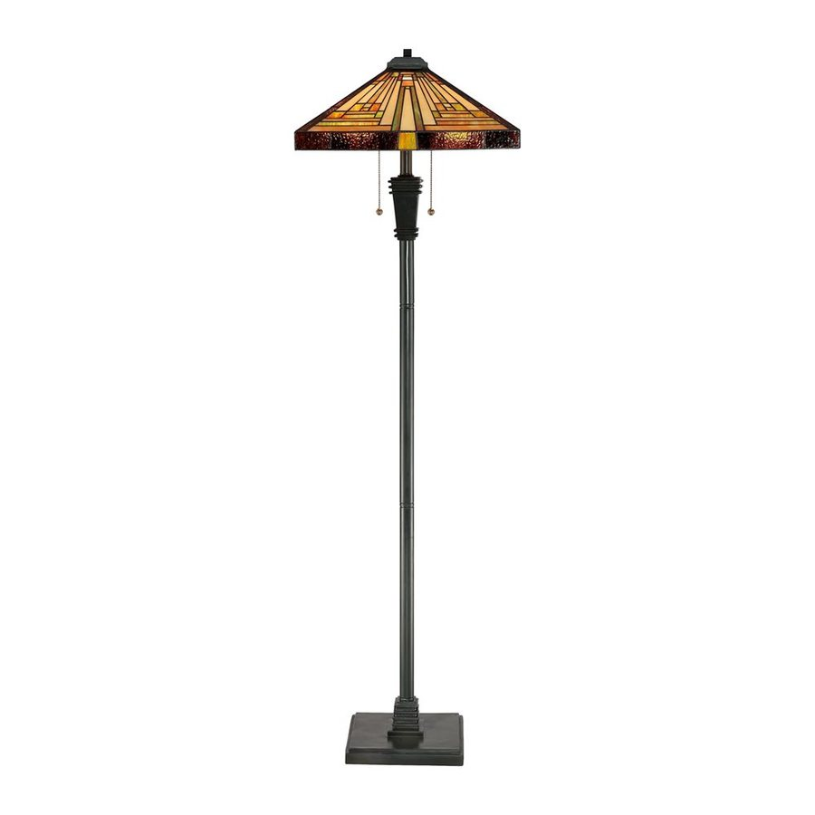 Quoizel Stephen 59 5 In Vintage Bronze Pull Chain Floor Lamp With Gl Shade