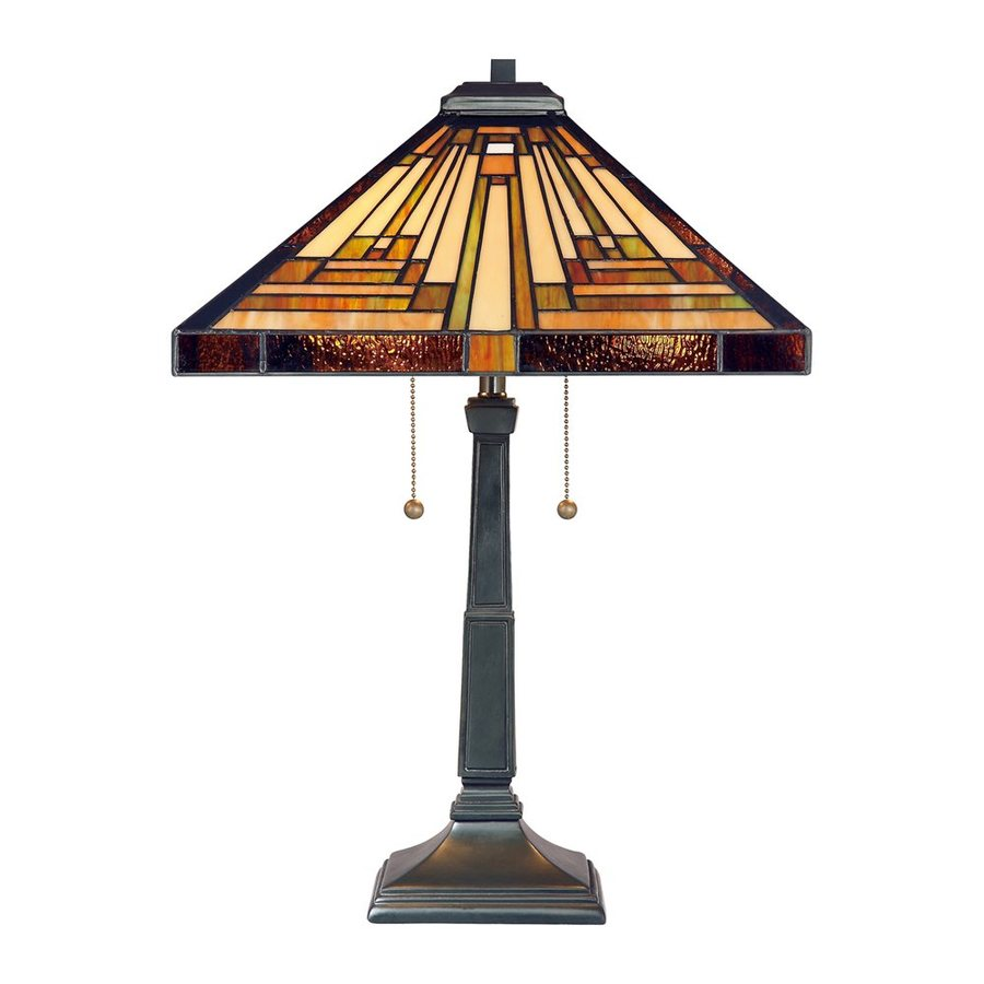 Quoizel Stephen 23-in Vintage Bronze Tiffany-Style Indoor Table Lamp with Glass Shade
