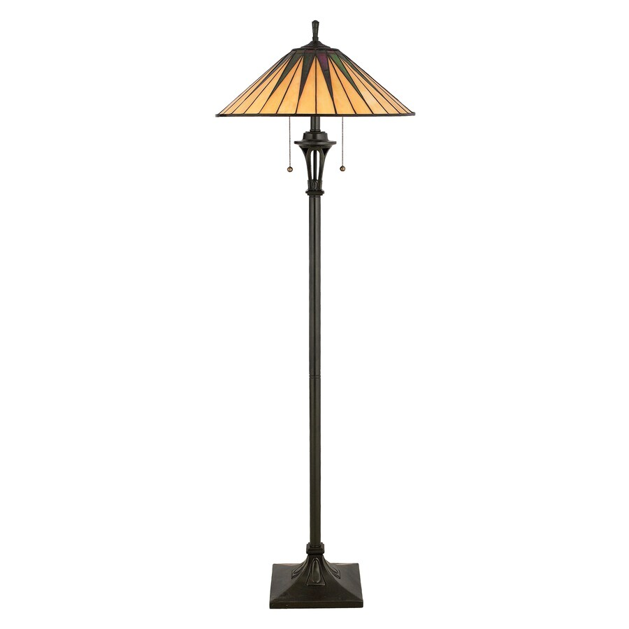 Quoizel Gotham 62-in Vintage Bronze Pull-Chain Floor Lamp with Glass Shade