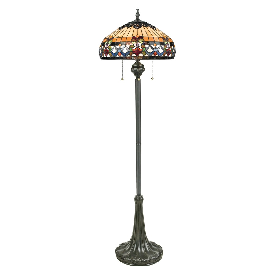 Quoizel Belle Fleur 62-in Vintage Bronze Tiffany-Style Indoor Floor Lamp with Tiffany-Style Shade