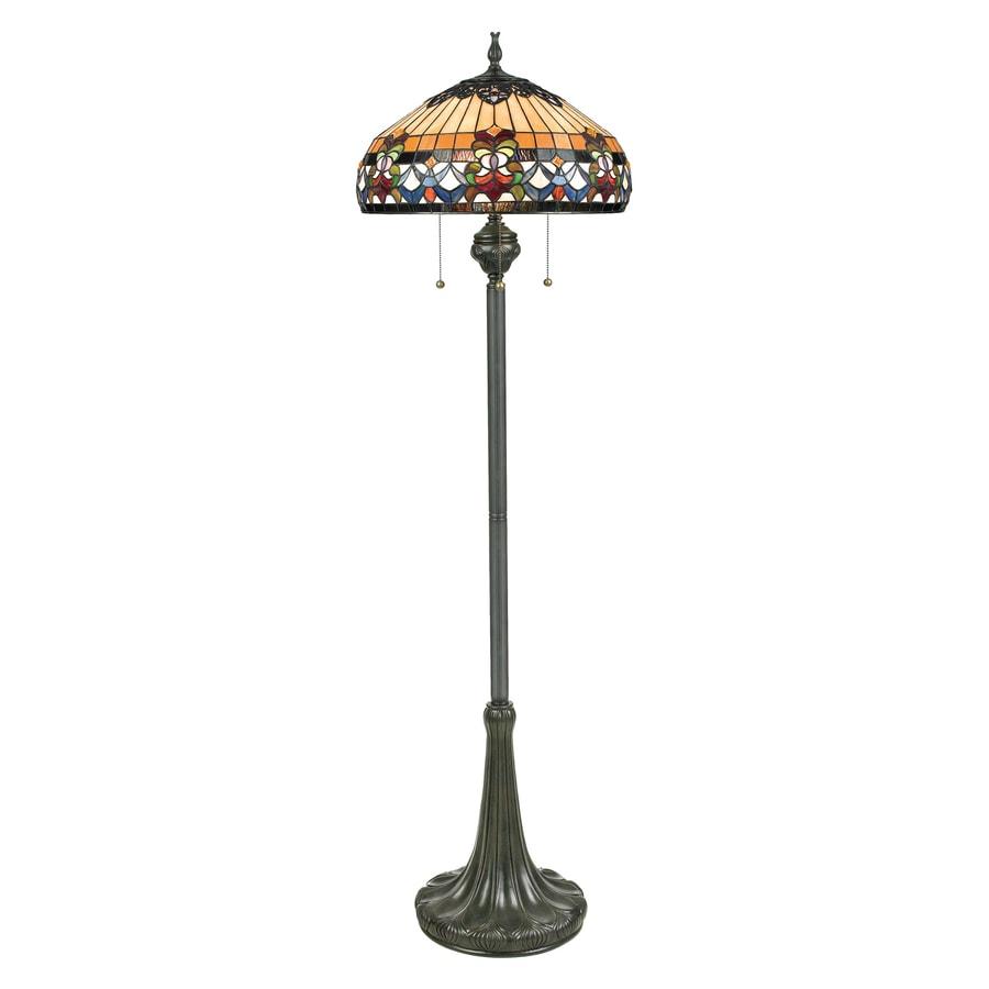 Quoizel Belle Fleur 62-in Vintage Bronze Floor Lamp with Glass Shade