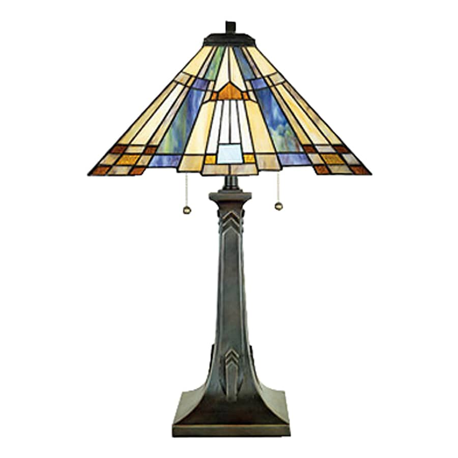 Quoizel Inglenook 25 In Valiant Bronze Table Lamp With Tiffany Style Shade