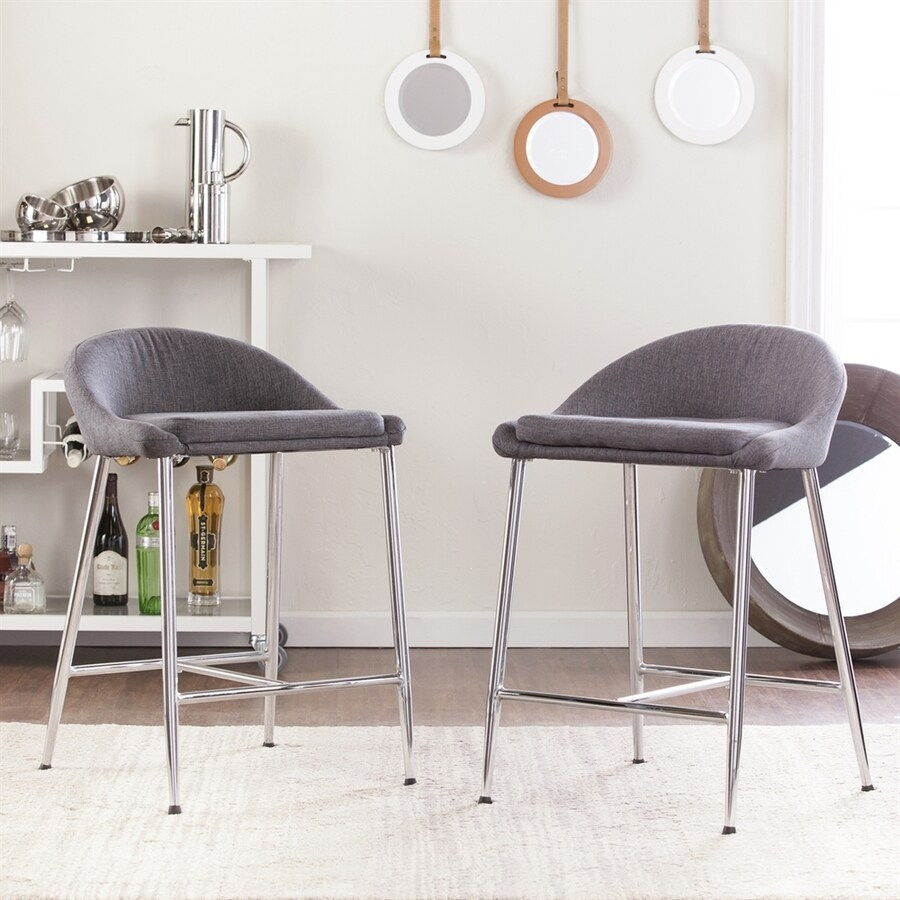 Holly & Martin Set of 2 Cabe Light Denim Gray Linen 26.25-in Counter Stools