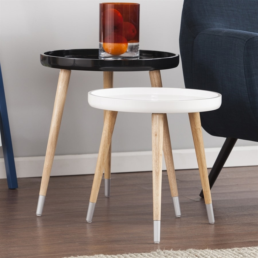 Holly & Martin Coho 2-Piece Black/White Rubberwood Accent Table Set