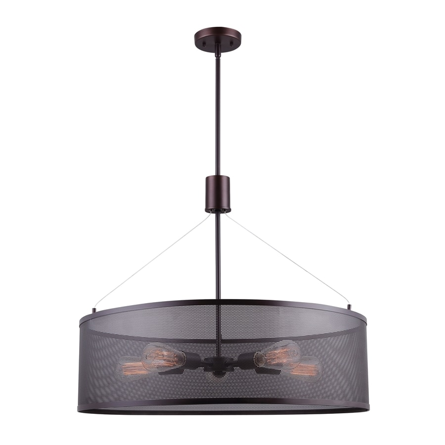 Canarm Acton 26-in Oil-Rubbed Bronze Industrial Single Drum Pendant