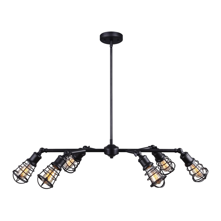 Canarm Otto 40-in 6-Light Granite Industrial Cage Chandelier