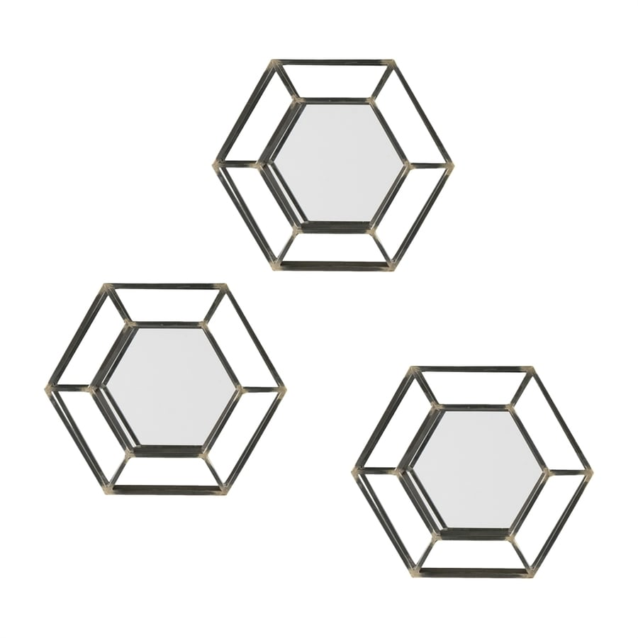 Holly & Martin Wyson 16-in x 16-in Matte Black/Antique Gold Polished Hexagon Framed Wall Mirror