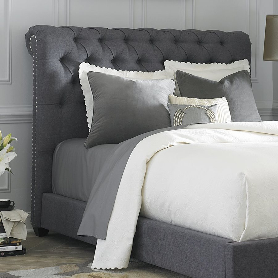 Liberty furniture chesterfield dark gray king linen upholstered headboard