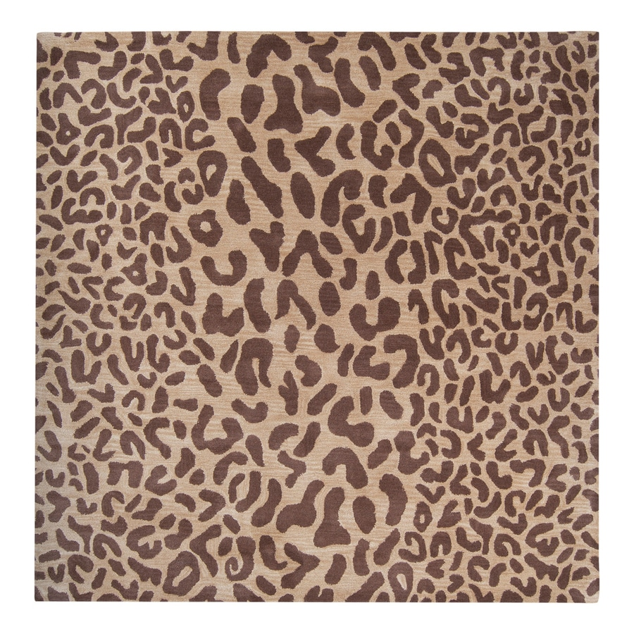 Surya Athena Tan Square Indoor Tufted Animal Print Area Rug (Common: 4 x 4; Actual: 48-in W x 48-in L)