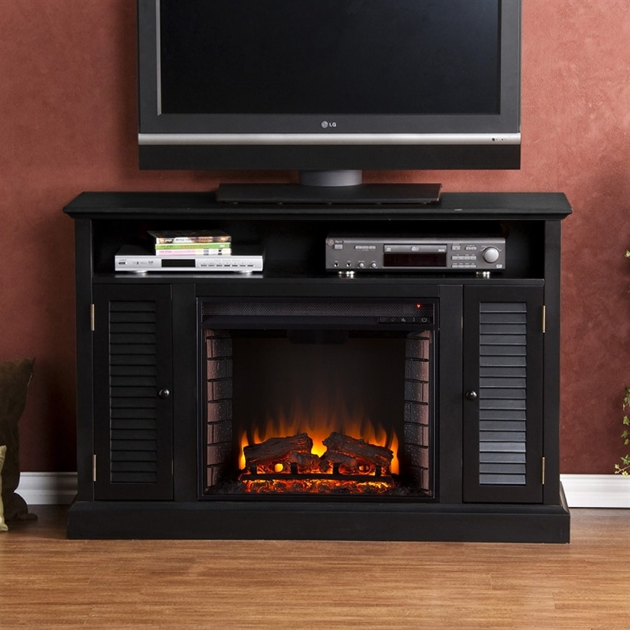 Boston Loft Furnishings 48-in W Distressed Black MDF LED Electric Fireplace with Thermostat and Remote Control