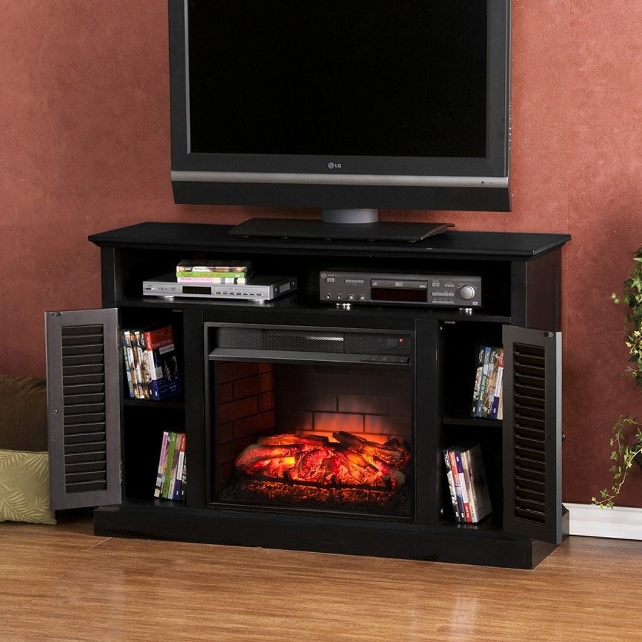 Boston Loft Furnishings 48-in W Distressed Black Infrared Quartz Electric Fireplace with Thermostat and Remote Control