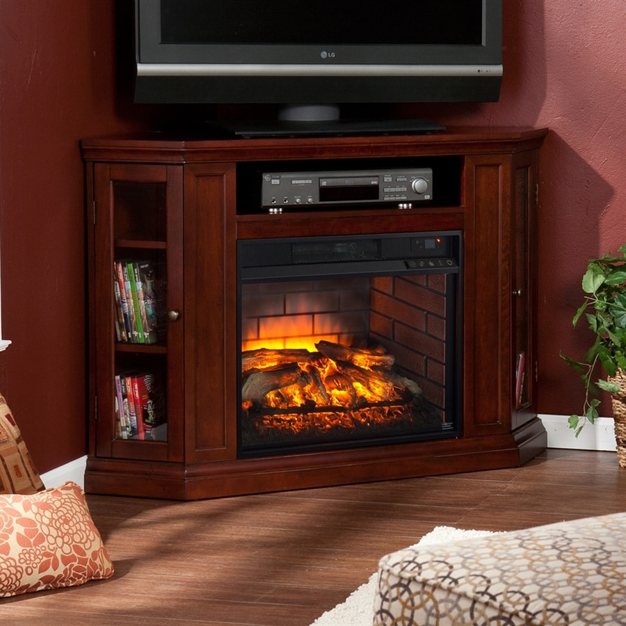 Boston Loft Furnishings 48-in W Cherry Infrared Quartz Electric Fireplace with Thermostat and Remote Control