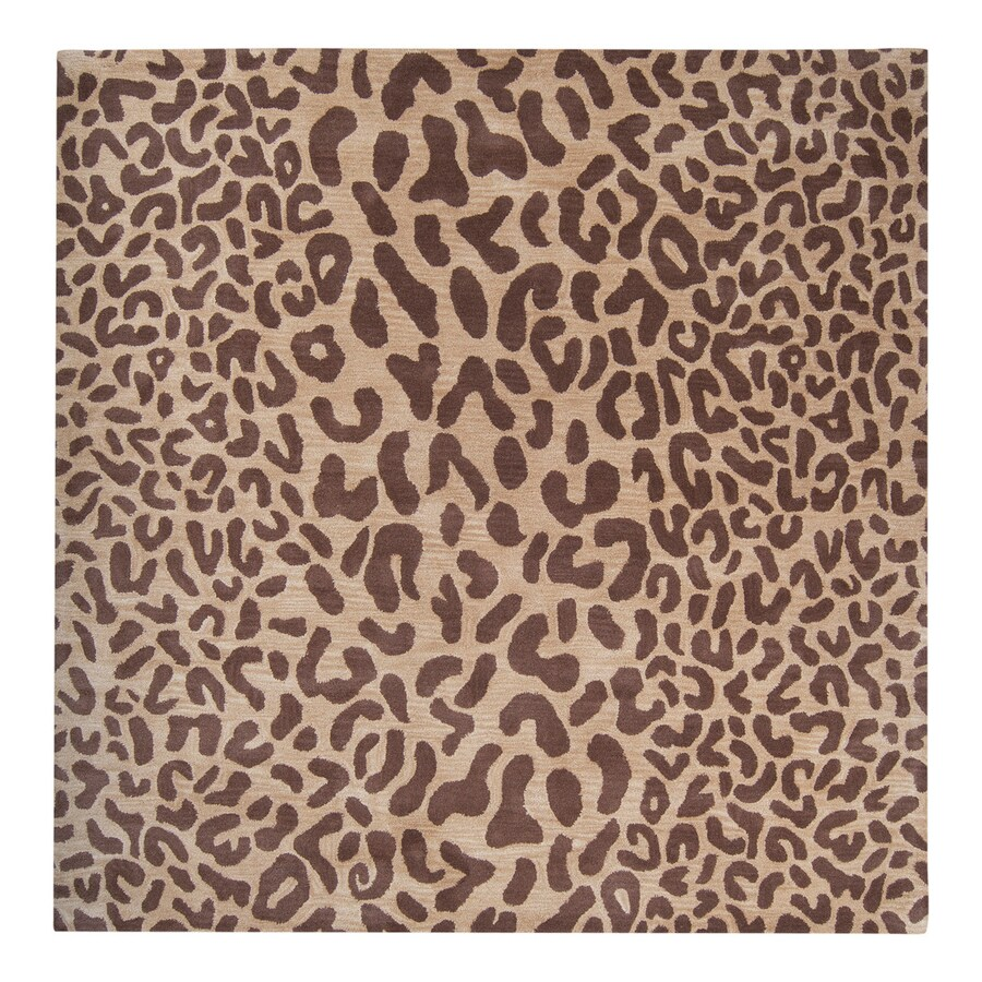 Surya Athena Tan Square Indoor Tufted Animals Area Rug (Common: 6 x 6; Actual: 6-ft W x 6-ft L)