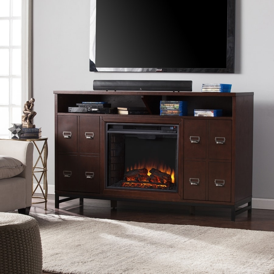 Boston Loft Furnishings 58-in W Espresso/Matte Black MDF LED Electric Fireplace with Thermostat and Remote Control