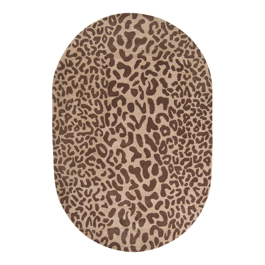 Surya Athena Tan Oval Indoor Tufted Animals Area Rug (Common: 8 x 10; Actual: 8-ft W x 10-ft L)