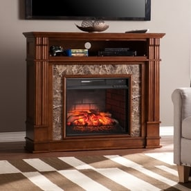 boston loft furnishings 48in w whiskey maple mdf infrared quartz electric fireplace with thermostat - Electric Fireplaces Clearance