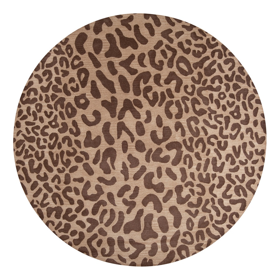 Surya Athena Tan Round Indoor Tufted Animals Area Rug (Actual: 9.75-ft Dia)
