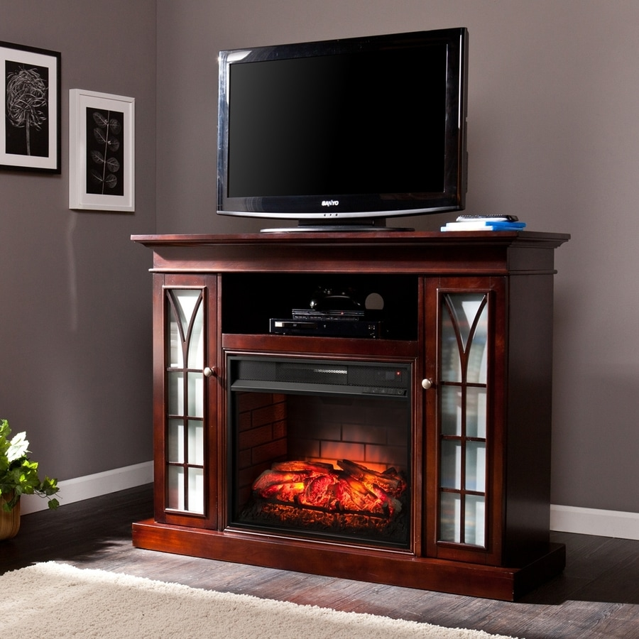 Boston Loft Furnishings 48-in W Espresso Infrared Quartz Electric Fireplace with Thermostat and Remote Control