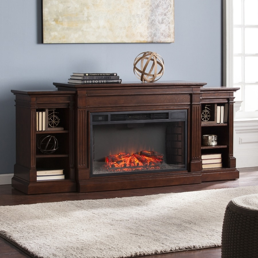 Shop boston loft furnishings 72 in w espresso mdf led Loft fireplace