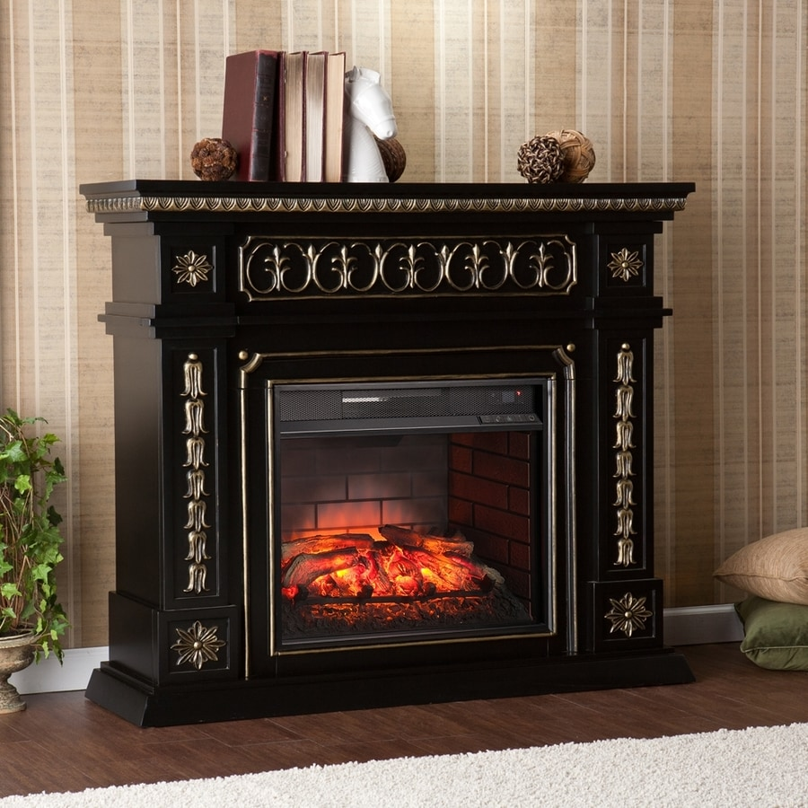 Boston Loft Furnishings 47-in W Black/Hand-Painted Gold MDF Infrared Quartz Electric Fireplace with Thermostat and Remote Control