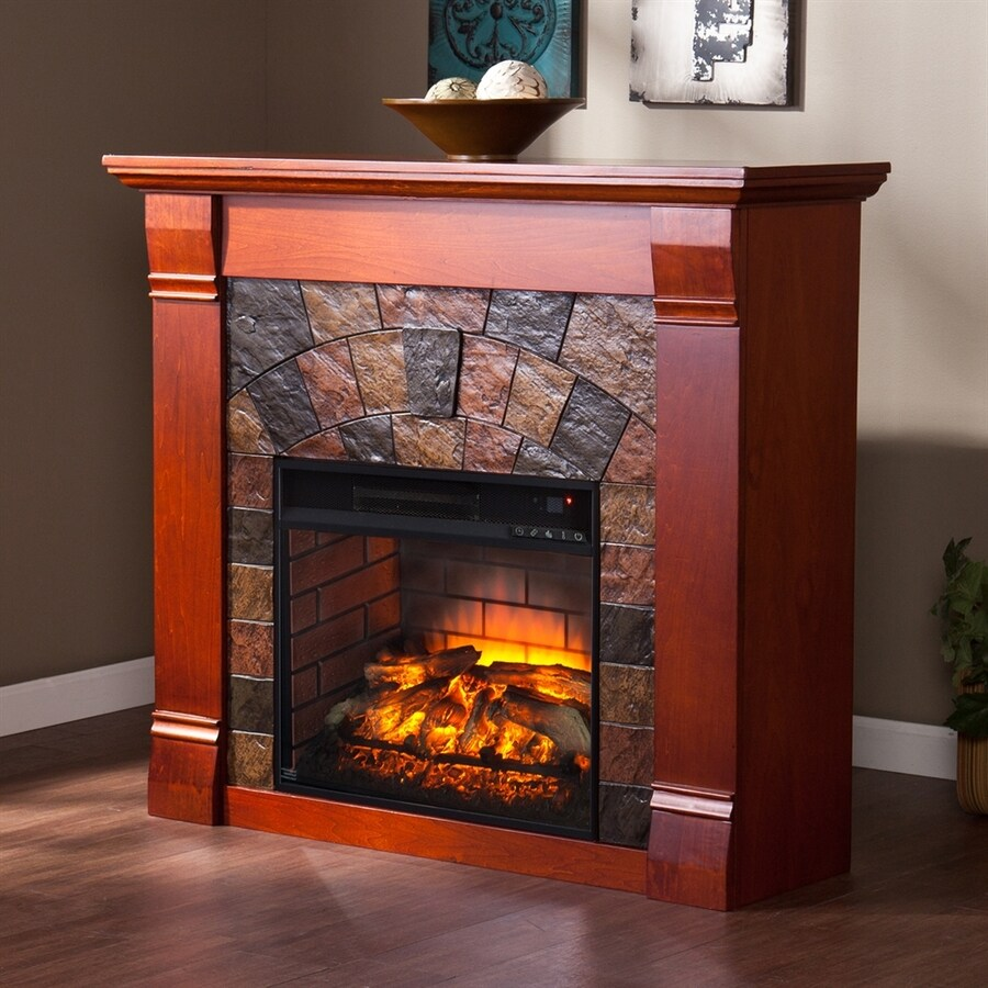 Boston Loft Furnishings 45.5-in W Mahogany MDF Infrared Quartz Electric Fireplace with Thermostat and Remote Control