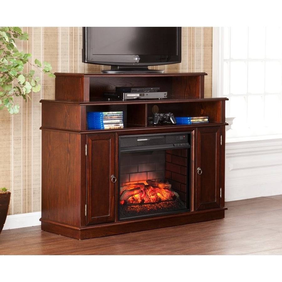 Boston Loft Furnishings 47.75-in W Espresso MDF Infrared Quartz Electric Fireplace with Thermostat and Remote Control
