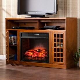 boston loft furnishings 48in w glazed pine mdf infrared quartz electric fireplace with thermostat