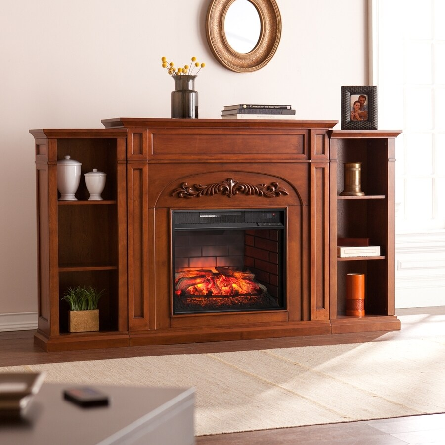 Boston Loft Furnishings 72.5-in W Autumn Oak MDF Infrared Quartz Electric Fireplace with Thermostat and Remote Control