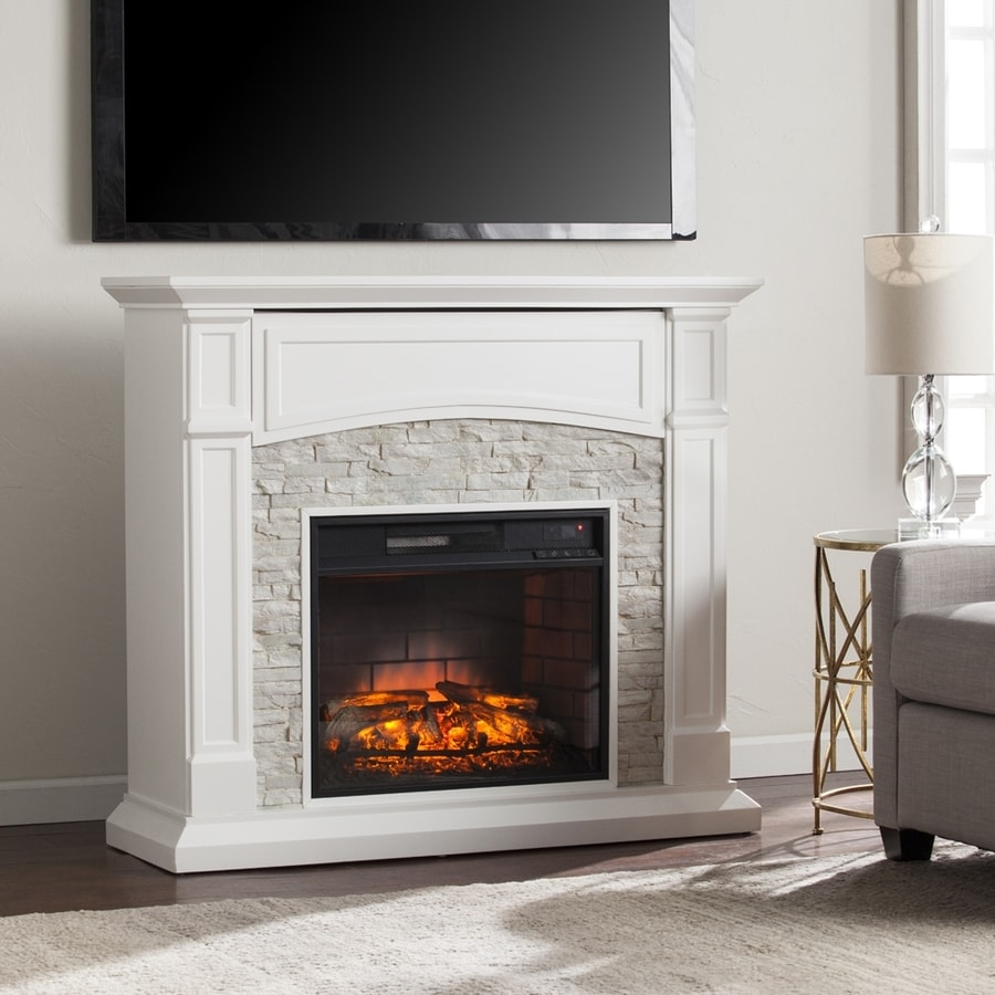 Shop Boston Loft Furnishings 45 75 In W Crisp White Mdf Infrared Quartz Electric Fireplace With
