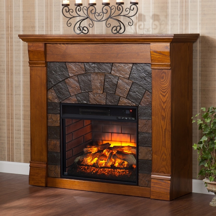 Boston Loft Furnishings 45.5-in W Oak Infrared Quartz Electric Fireplace with Thermostat and Remote Control