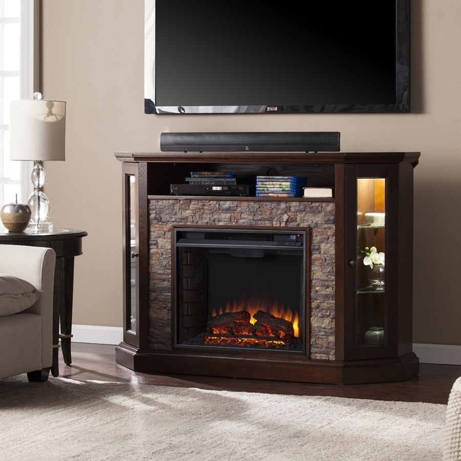 Shop boston loft furnishings 52.25-in w 4700-btu espresso/faux durango stone mdf corner or flat wall led electric fireplace media mantel thermostat remote control included in the electric fireplaces section of Lowes.com