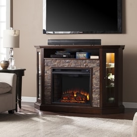 boston loft furnishings 5225in w durango stone mdf led electric fireplace