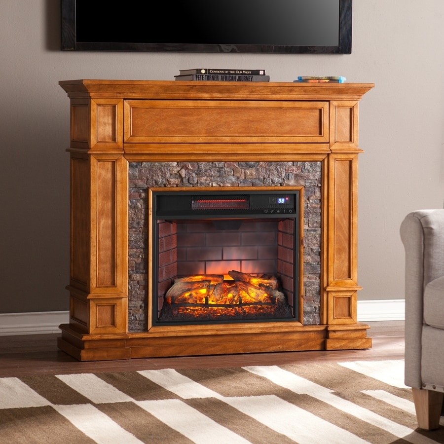 Shop Boston Loft Furnishings 45 5 In W Sienna Mdf Infrared Quartz Electric Fireplace With