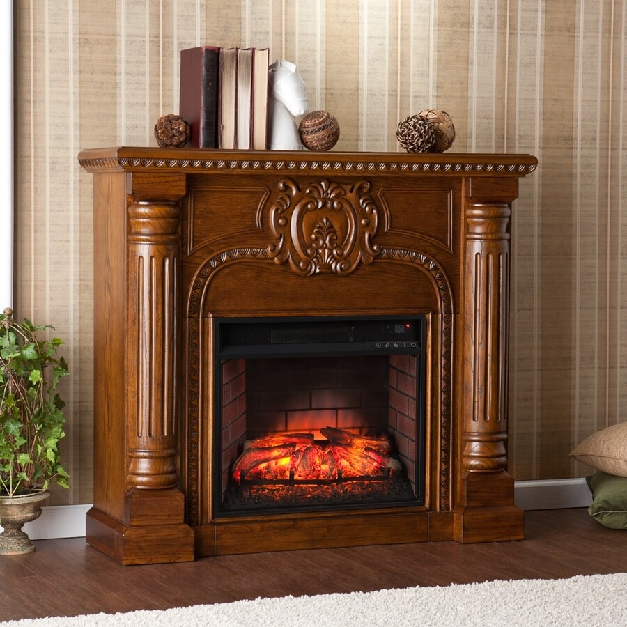 Boston Loft Furnishings 45.25-in W Salem Antique Oak Infrared Quartz Electric Fireplace with Thermostat and Remote Control