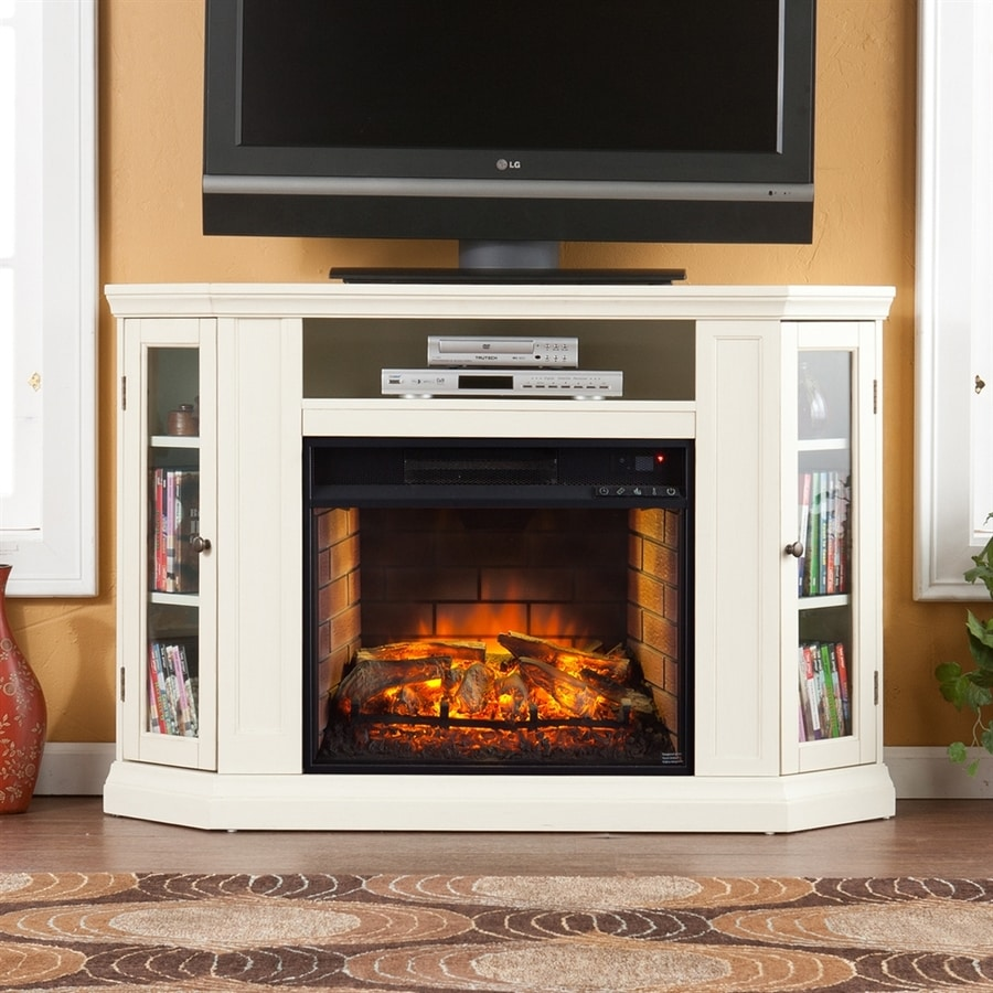 Boston Loft Furnishings 48-in W Ivory MDF Infrared Quartz Electric Fireplace with Thermostat and Remote Control