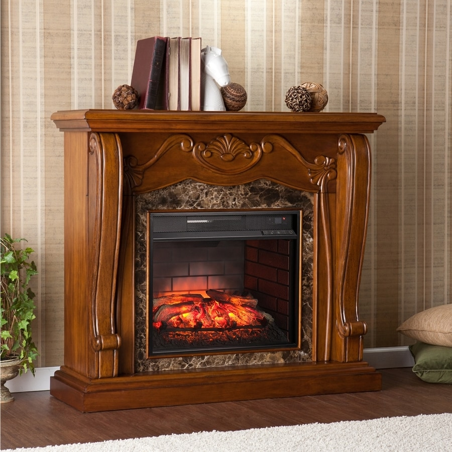 Boston Loft Furnishings 45.25-in W Walnut MDF Infrared Quartz Electric Fireplace with Thermostat and Remote Control
