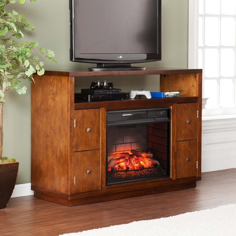 Boston Loft Furnishings 47.75-in W Dark Tobacco Infrared Quartz Electric Fireplace with Thermostat and Remote Control