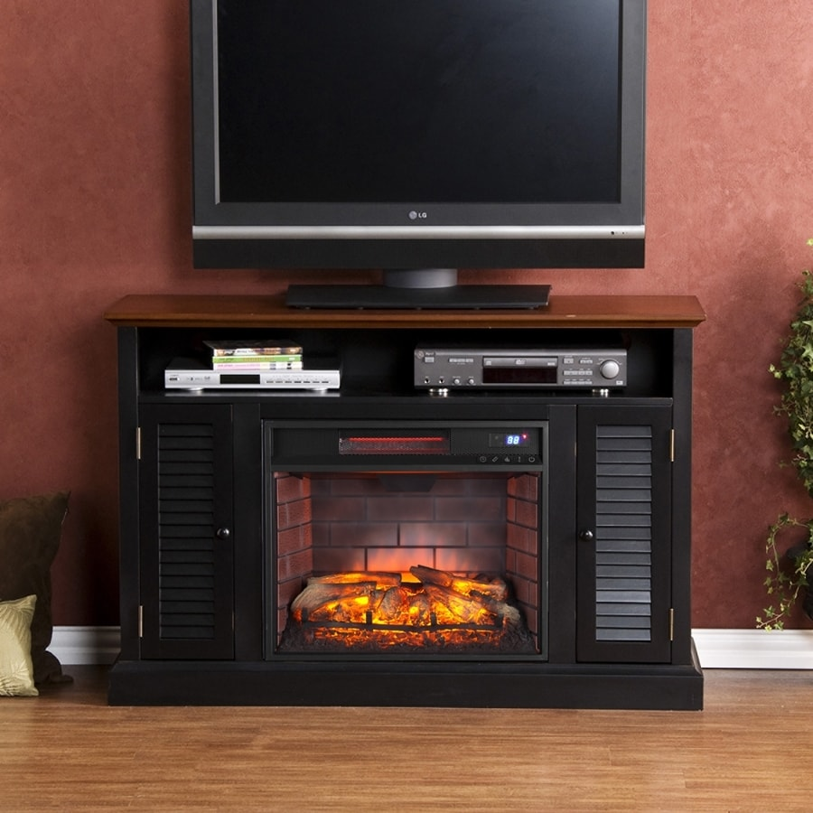 Boston Loft Furnishings 48-in W Black/Warm Walnut MDF Infrared Quartz Electric Fireplace with Thermostat and Remote Control