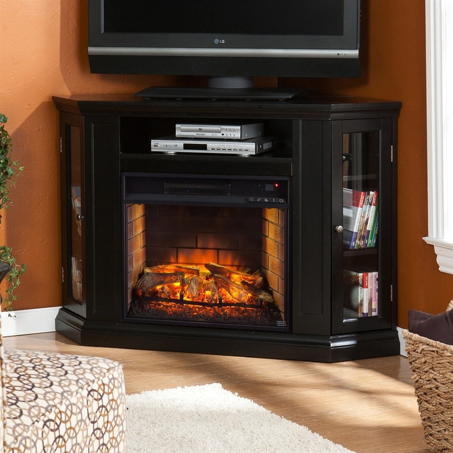 Boston Loft Furnishings 48-in W Black MDF Infrared Quartz Electric Fireplace with Thermostat and Remote Control