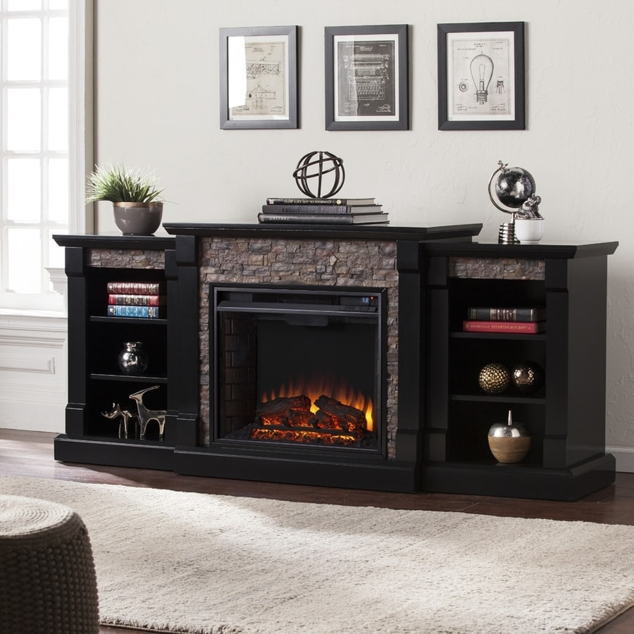 Boston Loft Furnishings 71.75-in W Satin Black LED Electric Fireplace with Thermostat and Remote Control