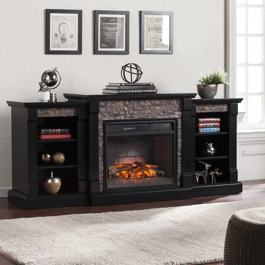 Shop boston loft furnishings 71.75-in w 5000-btu satin black mdf flat wall infrared quartz electric fireplace thermostat remote control included in the electric fireplaces section of Lowes.com