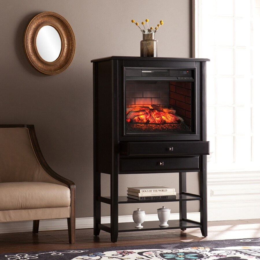 Boston Loft Furnishings 32.25-in W Black MDF Infrared Quartz Electric Fireplace with Thermostat and Remote Control